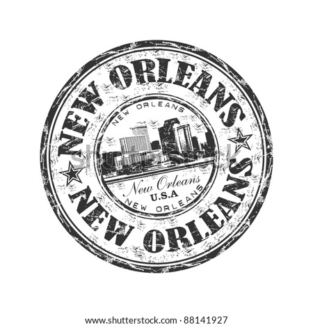 Black grunge rubber stamp with the name of the city of New Orleans written inside the stamp - stock vector