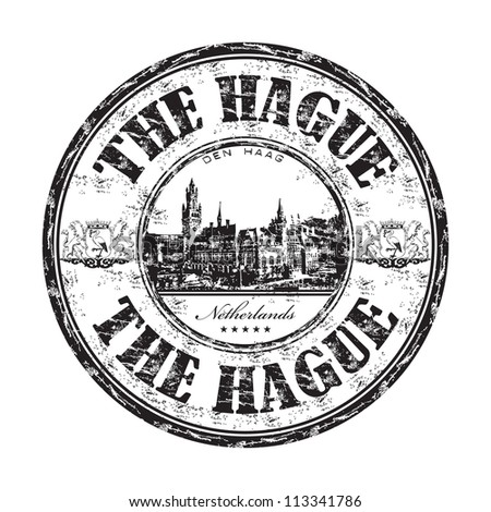 Black grunge rubber stamp with the name of The Hague city, the capital city of the province of South Holland, in the Netherlands