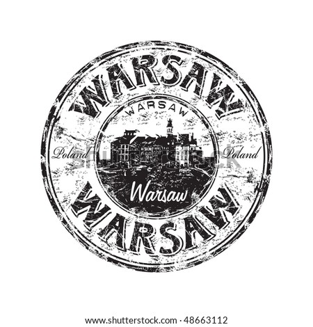 Black grunge rubber stamp with the name of Warsaw the capital of Poland written inside the stamp