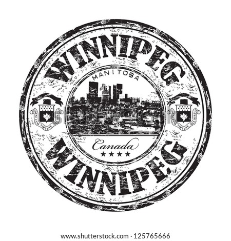 Black grunge rubber stamp with the name of Winnipeg city the largest city of Manitoba, Canada