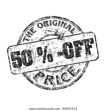 Black grunge rubber stamp with the text fifty percent off the original price written inside the stamp