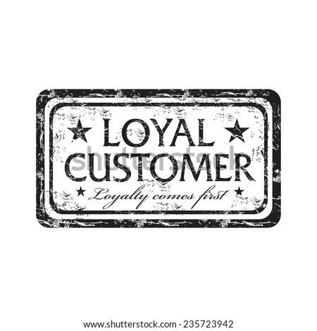 Black grunge rubber stamp with the text loyal customer, isolated on a white background - stock vector