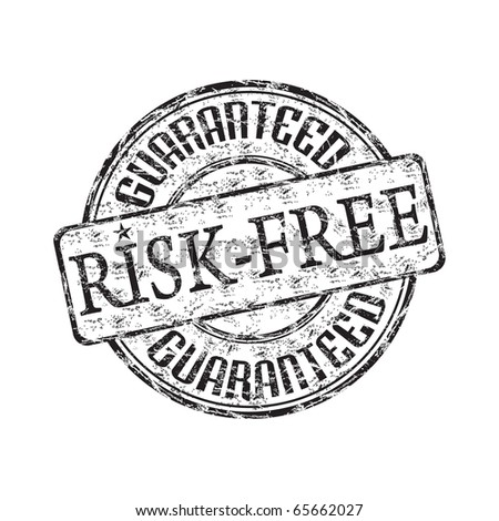 Black grunge rubber stamp with the text risk free guaranteed written inside the stamp - stock vector