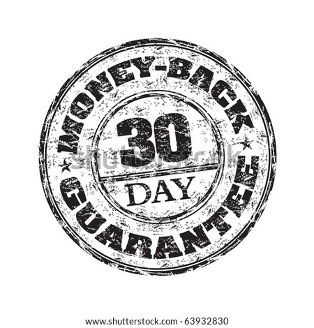 Black grunge rubber stamp with the text thirty day money back guarantee written inside the stamp - stock vector