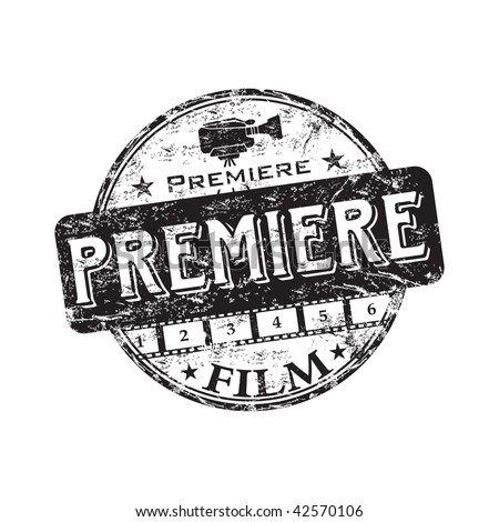 Black grunge rubber stamp with the word premiere written inside the stamp. Film premiere stamp - stock vector
