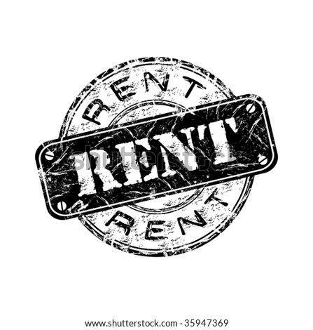 Black grunge rubber stamp with the word rent written inside the stamp - stock vector