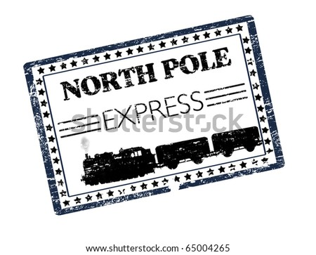 Black grunge rubber stamp with train silhouette and the text North Pole Express written inside the stamp - more available