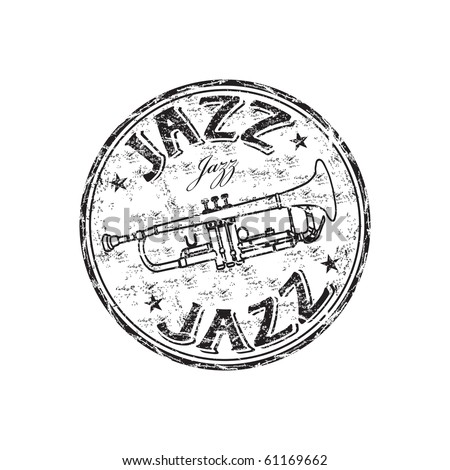 Black grunge rubber stamp with trumpet and the word jazz written inside the stamp