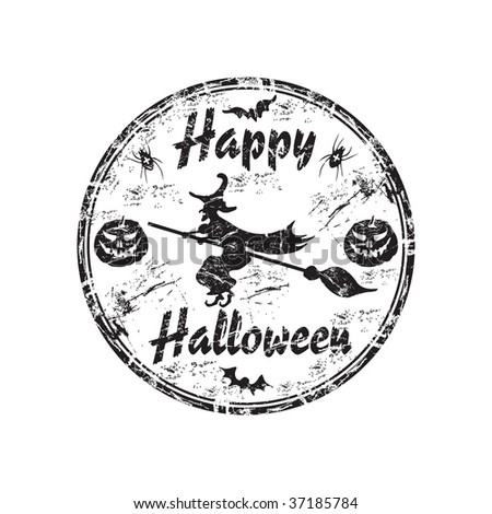 Black grunge rubber stamp with witch flying on a broomstick, small pumpkins smiling and the text Happy Halloween written inside the stamp