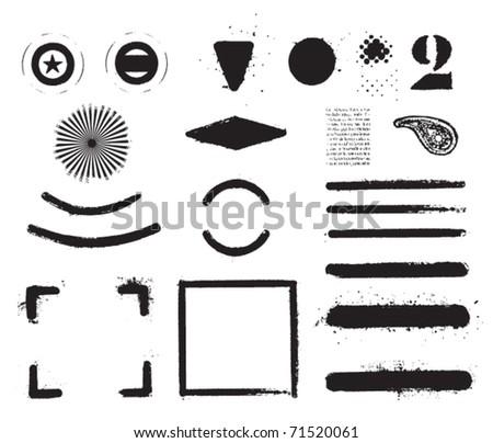 black grunge set of frames - stock vector
