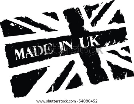 Black grunge stamp with words Made in UK and flag of United Kingdom - stock vector