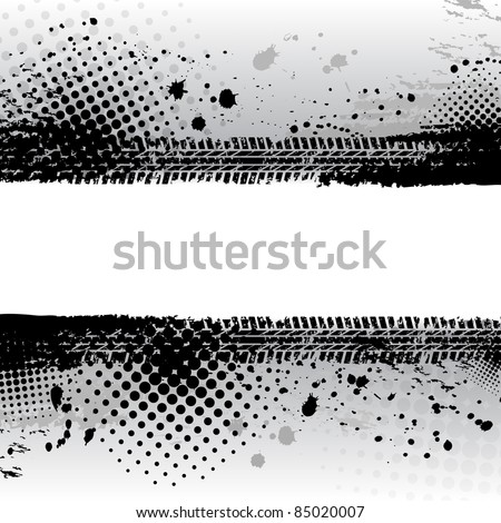 Black grunge tire track background - stock vector