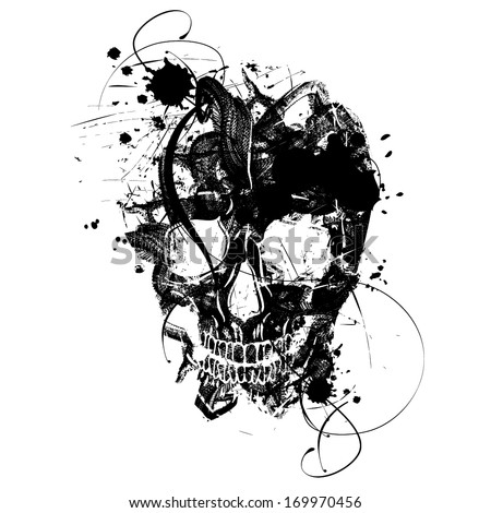 Black grunge vector skull - stock vector
