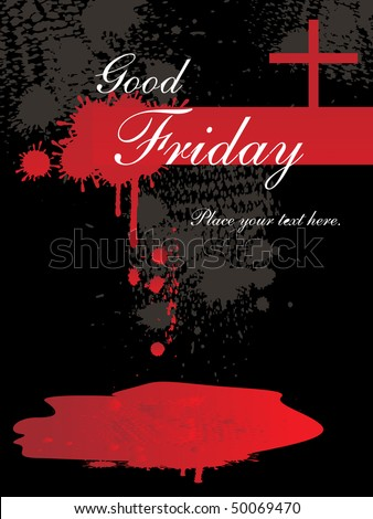 black grungy texture background with red blood, cross - stock vector