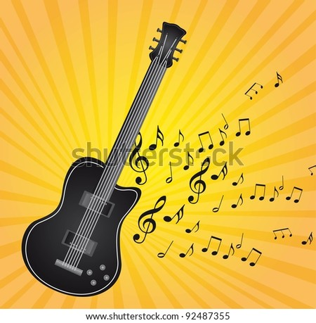 black guitar with music notes over yellow background vector - stock vector