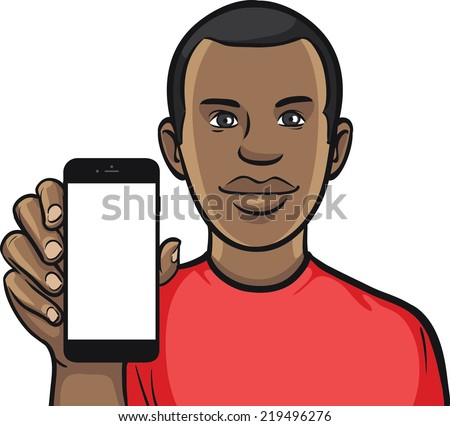 black guy showing a mobile app on a smart phone - stock vector