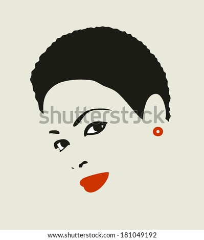 Black hair woman. Vector illustration of young attractive girl with short hair. - stock vector