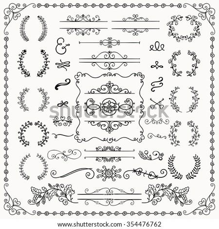 Black Hand Drawn Sketched Decorative Doodle Design Elements. Frames, Text Frames, Dividers, Floral Branches, Borders, Brackets. Vector Illustration - stock vector