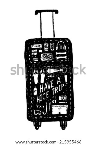Black hand drawn sketchy outlines of a tourist bag with contours of its contents. Have a nice trip text. EPS10 vector image. - stock vector