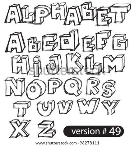 black hand drawn vector alphabet set
