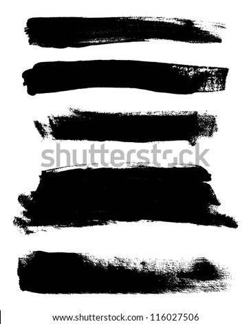 Black hand painted vector abstract brush strokes collection - stock vector