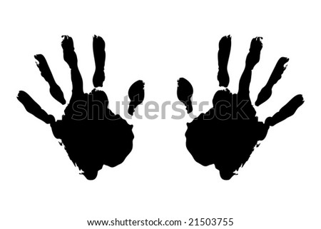 Black hand prints on pure white background - stock vector