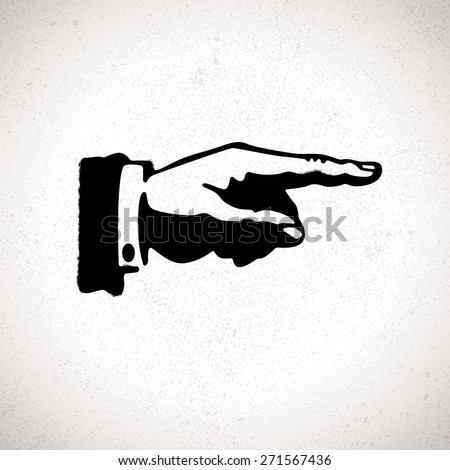 Black hand silhouette with pointing finger. Vector direction sign - stock vector