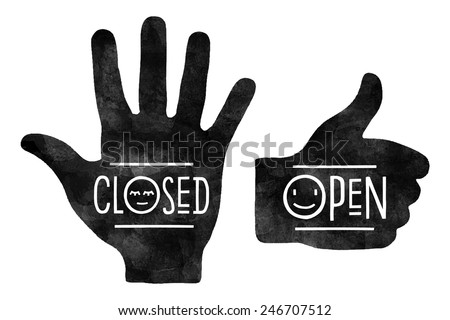 Black hand silhouettes with the words Closed and Open. Navigation signs - stock vector