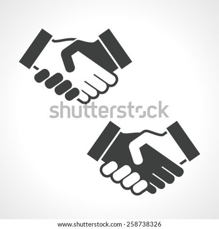 Black Handshake Vector Icon, Business Concept - stock vector