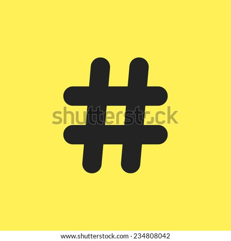 black hashtag icon isolated on yellow background. concept of social media, microblogging and number sign. trendy modern vector illustration - stock vector