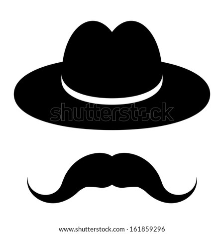 black hat with mustache isolated on a white background  - stock vector