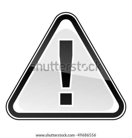 Black hazard warning attention sign with exclamation mark on white - stock vector