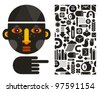 Black head man and seamless pattern. Vector illustration. - stock vector