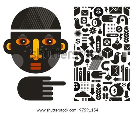Black head man and seamless pattern. Vector illustration. - stock vector