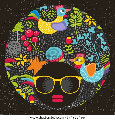 Black head woman with cool pattern on her hair. Vector illustration. - stock vector
