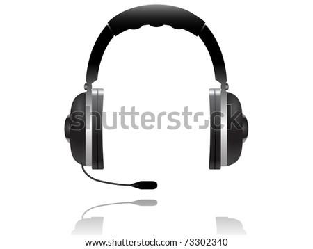 black headphones on white background - stock vector