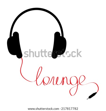 Black headphones with red cord in shape of word lounge Music card Flat design Vector illustration - stock vector