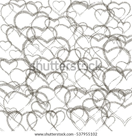 black hearts different sizes. Happy Valentine's Day. stipple effect. white background. vector