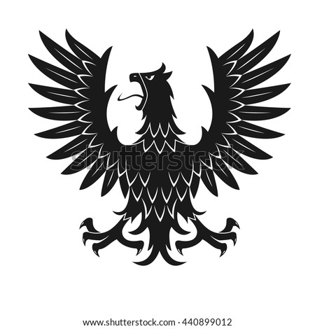 Black heraldic bird symbol for medieval stylized coat of arms or tattoo design usage with silhouette of screaming eagle in aggressive posture with raised wings - stock vector