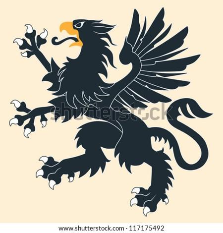 Black Heraldic Griffin - stock vector