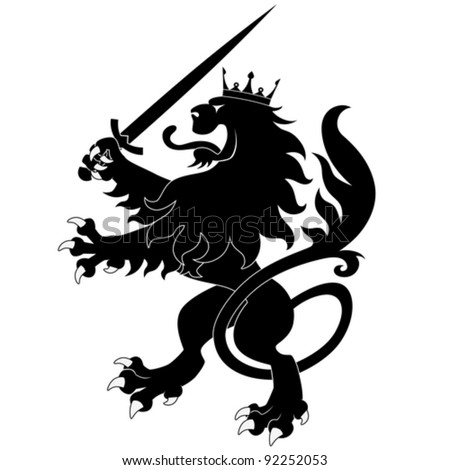 Black heraldic lion with sword on white background - stock vector