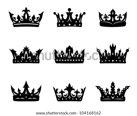 Black heraldic royal crowns set. Vector illustration - stock vector