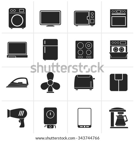 Black home appliance icons - vector icon set - stock vector
