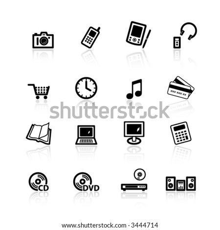 black home electronics icons - stock vector