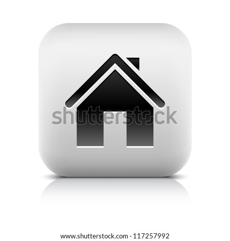 Black home icon web sign. Series of buttons in a stone style. White rounded square shape with black shadow and gray reflection on white background. Vector illustration clip-art design element in 8 eps - stock vector