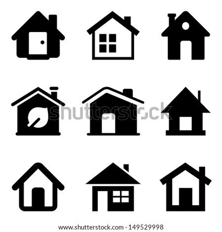 Black Home Icons Isolated On White Stock Vector Royalty Free
