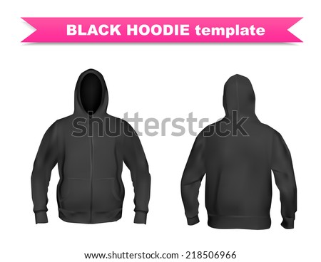 Front Black Design Hoodie Template Stock Images, Royalty-Free