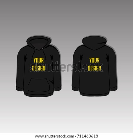 Black Hoodie Template Two Side Back Stock Vector 711460618