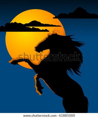 black horse against a yellow moon (vector); - stock vector