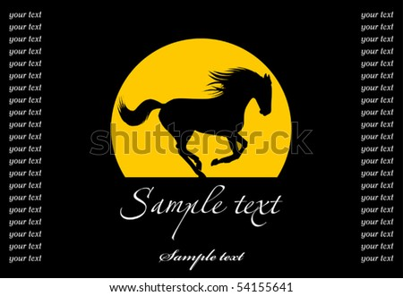 black horse galloping on a black background; - stock vector